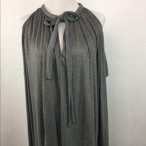 Deletta M/L Tulay Gray Cold Shoulder Tie Top Shirt